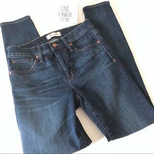 "Madewell 9"" high rise skinny blue denim jeans 26"